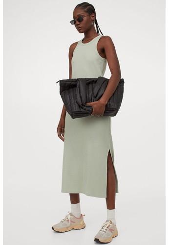 H&M green Ribbed vest dress ACFC1AA8FB0CA1GS_1