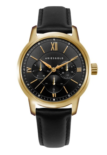 Aries Gold gold Aries Gold Urban Gold and Black Leather Watch 02A6BAC21D75C7GS_1