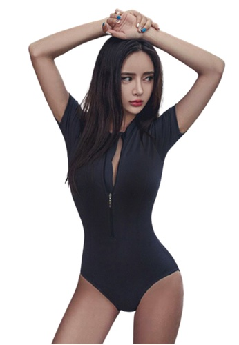 Halo black Short Sleeves Diving Swimsuit BB588USCAA096AGS_1