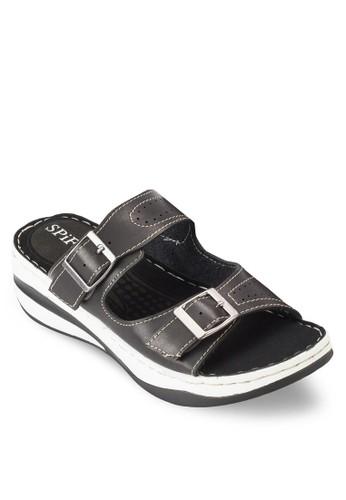 雙扣環帶厚底涼鞋拖鞋, 女鞋esprit macau, 鞋