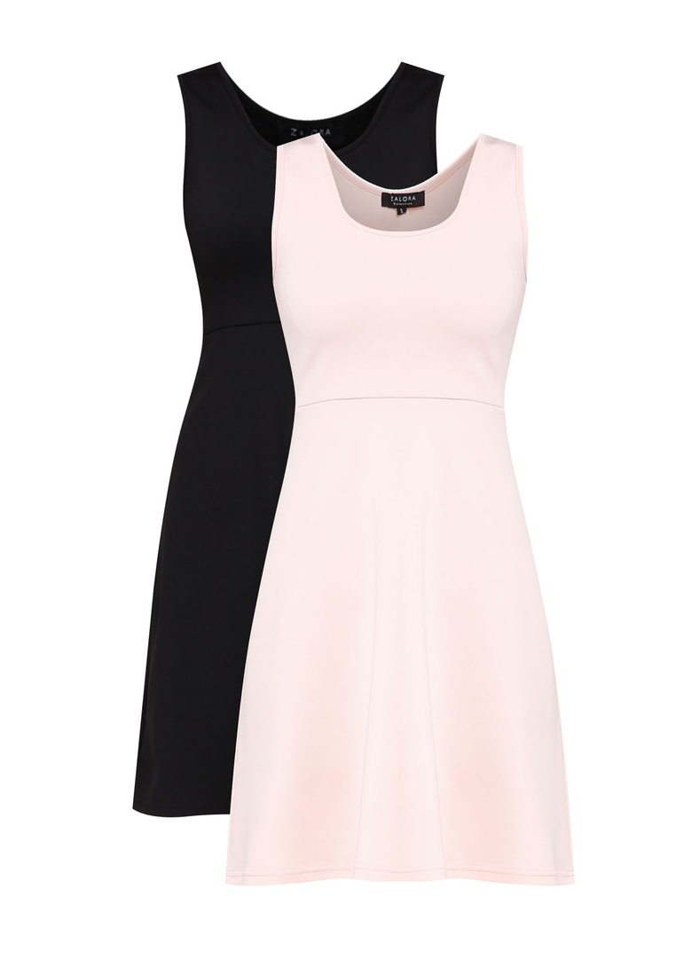 pack Blush BASICS ZALORA 2 Flare Neck Basic Dress Black Fit Scoop amp; OdgCq