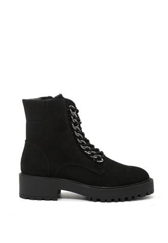 London Rag black Black Suede Metal Chain Lace up Boots CEFCFSHD5BF16DGS_1
