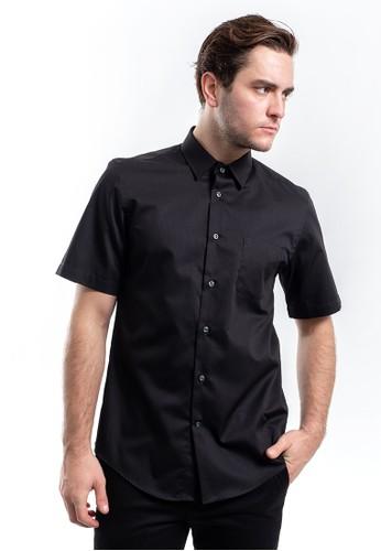 MANLY black MANLY Kemeja Regular Fit Leonel Black Short Sleeve A73BEAAA929D59GS_1