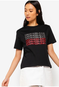 d3b021b711 Calvin Klein black Institutional Repetition Tee - Calvin Klein Jeans  1FD92AA4CBAEE3GS 1