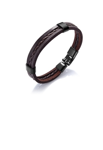 Glamorousky silver Simple Vintage Brown Braided Leather Bracelet 38CECAC768EC9BGS_1