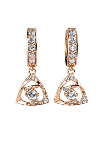 Her Jewellery gold Tri Glyn Hoop Earrings (Rose Gold) - Made with Premium grade crystals from Austria 151F4AC7B8B63BGS_1
