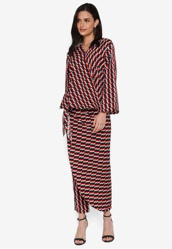 Lubna red Kimono Wrap Co-ords 7146BAA91EA155GS_1