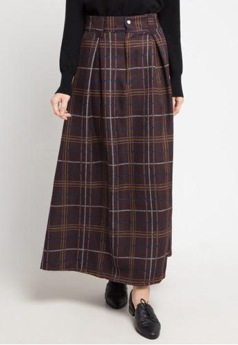 MEITAVI'S red and multi Checker Maxi Skirt E4185AA4DD4B96GS_1