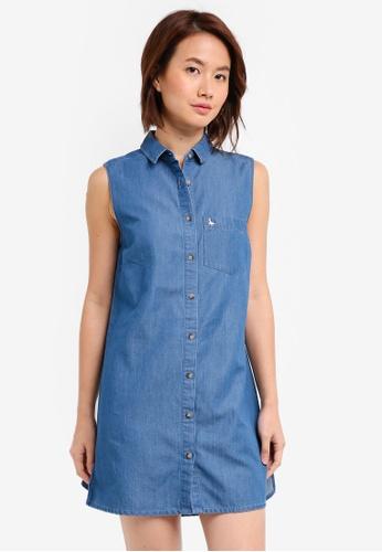 Jack Wills blue Luella Sleeveless Shirt Dress 68AADAA98C5761GS_1
