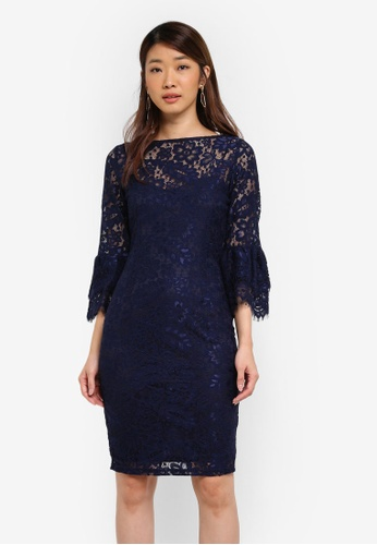 Paper Dolls navy Soft Lace Double Flutted Sleeve Dress E0ED9AADCDA387GS_1