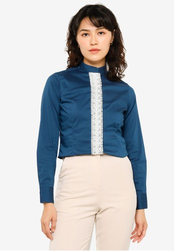Sacoor Brothers blue Cotton Elastane Shirt With Mao Collar And Lace Placket 9CDB3AAF35D0FCGS_1