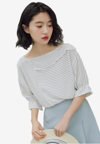 Shopsfashion white and blue Layered Collar Blouse in Strip SH656AA0F0QESG_1