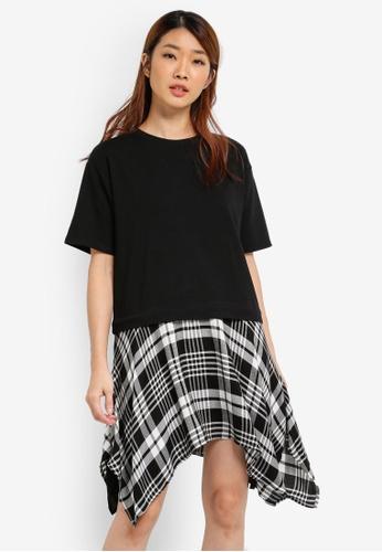 Something Borrowed black Layered T-shirt Dress 15DCAAA89708B3GS_1