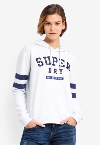Superdry white Riverside Crop Hoodie SU137AA0T1W8MY_1