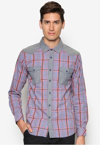 雙口袋格紋長袖esprit hk襯衫, 服飾, 襯衫