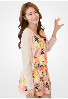 Abstract Floral Breezy Combo Dress - Pink