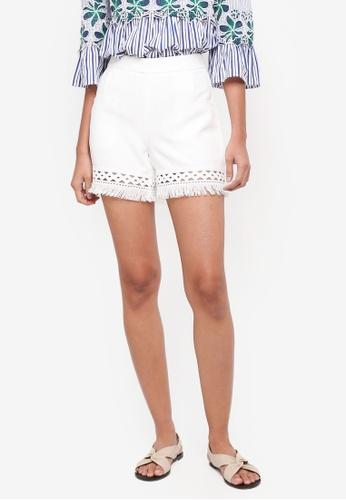 bYSI white High-Rise Fringe Hem Shorts 24760AA82CC705GS_1