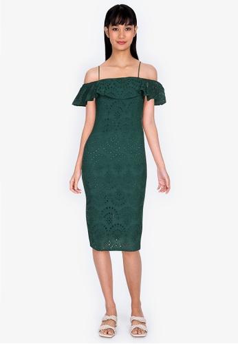 ZALORA BASICS green Cold Shoulder Dress 75C2DAAF1C0FCFGS_1