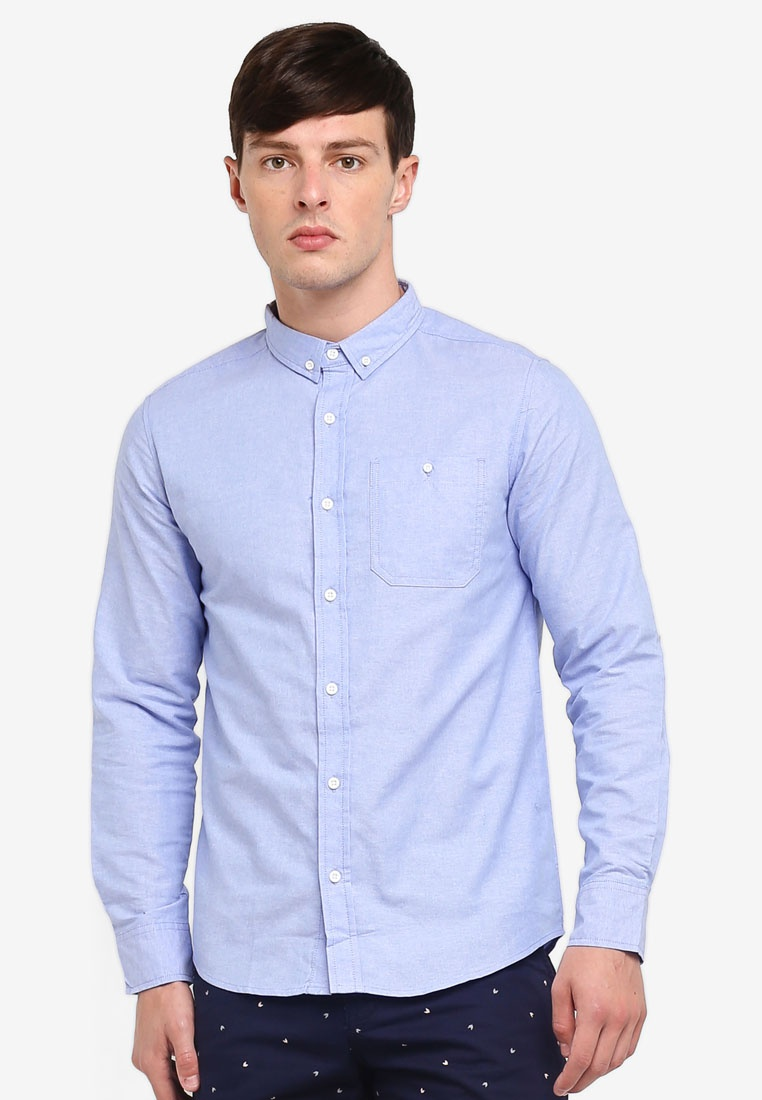 Penshoppe Shirt Oxford Buttoned Pocketed Blue Downed dtIfwxqw6