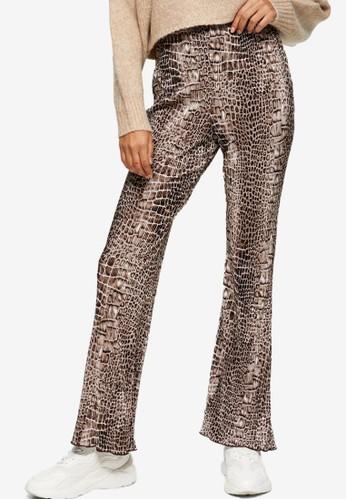 TOPSHOP multi Crocodile Print Plisse Flare Trousers 41549AA9671840GS_1