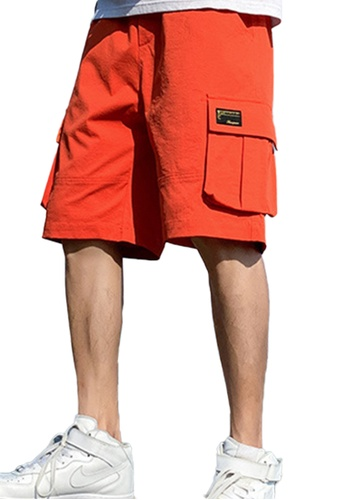 Sunnydaysweety red Casual Trend Loose Solid Color Cargo Shorts A21070502RD E1755AA976FCE6GS_1