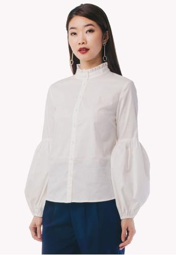 e7cf29cb94015c Nichii white Ruffled High Collar Shirt 2F532AAFBEC744GS 1