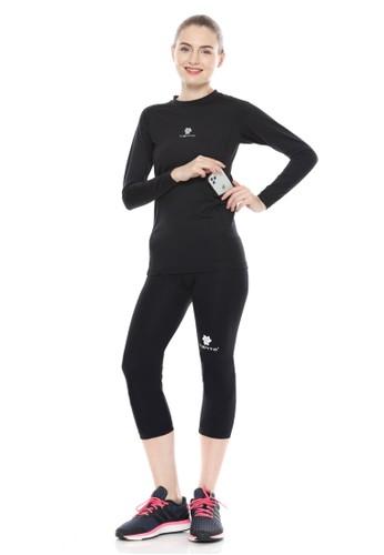 Tiento black Tiento Baselayer Manset Olahraga Long Sleeve Black Evolution dan Celana Legging 3/4 Pants 1 Set Women 58C91AA7D12E5CGS_1