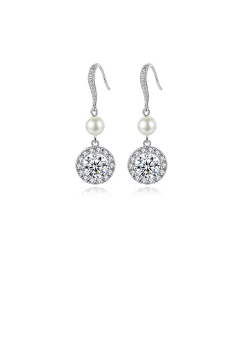 Glamorousky white Fashion and Elegant Geometric Round Imitation Pearl Earrings with Cubic Zirconia 5973FACF6B17D1GS_1