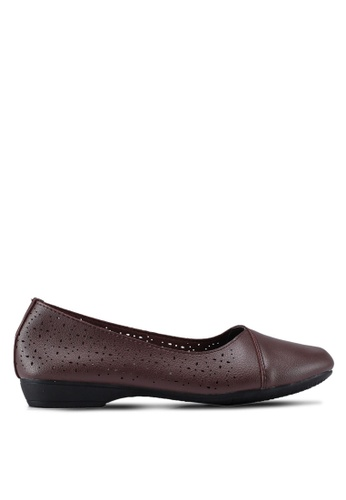 Louis Cuppers 褐色 Perforated Ballerina Flats 8B45ASHB598E80GS_1