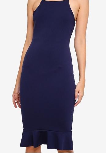 cbfc8989c2a Buy MISSGUIDED Scuba Square Neck Frill Hem Midi Dress Online ...