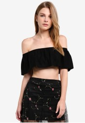 Miss Selfridge black Black Bardot Frill Top MI665AA0RSTSMY_1