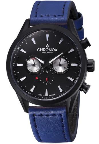 Chronox Speedracer CX2002/C7 - Jam Tangan Pria - Tali Kulit Biru - Hitam