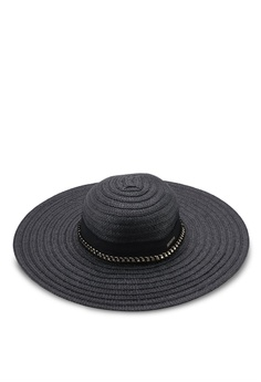 27bad752de88d River Island black Oversized Floppy Straw Hat 99B57AC31E7110GS 1