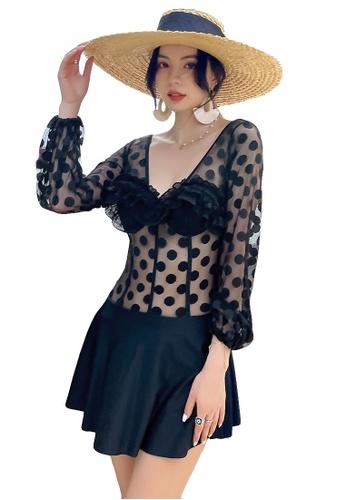 A-IN GIRLS black Sexy Polka Dot Gauze Low V One-Piece Swimsuit C20C5US217FE31GS_1