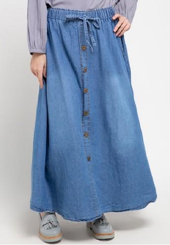ZAHRA SIGNATURE blue Long Skirt Denim Flare W/ Button FFD15AA873ECF9GS_1