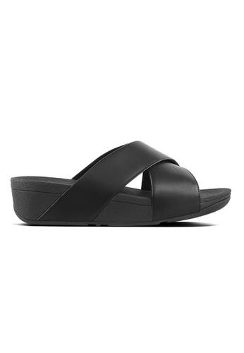 FitFlop black Lulu Cross Slide-Leather 77653SH19B13EEGS_1