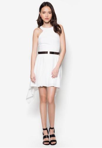 不對稱下擺腰帶洋裝, 服飾, 洋zalora 心得 ptt裝