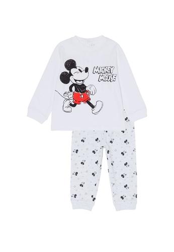 OVS white Long Pyjamas With Disney Mickey Mouse Pattern 73761KA8043CA6GS_1