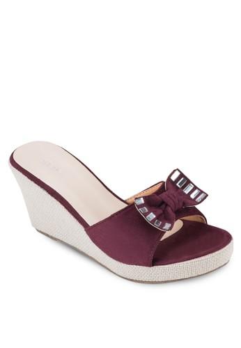 蝴蝶結露趾楔型esprit台灣outlet鞋, 女鞋, 楔形涼鞋