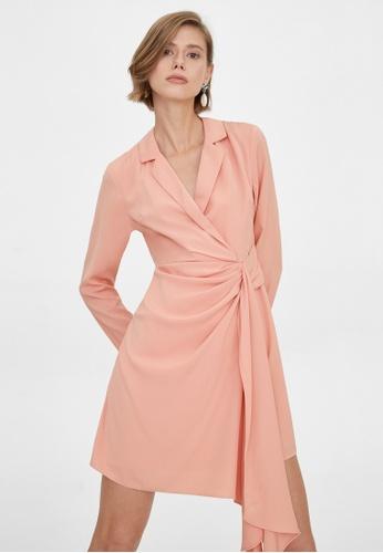Pomelo pink Side Draped Wrap Dress - Pink 754D0AA515C89DGS_1