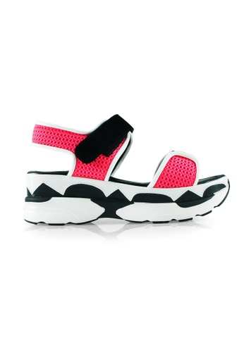 Gripz black and white and pink Brilliant Pink Mesh Sporty Wedge Sandal GR357SH41OAOSG_1