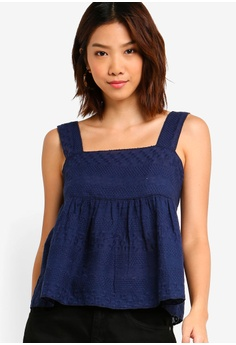 8bc3387edc Something Borrowed navy Embroidered Babydoll Top 7D664AAD431829GS_1