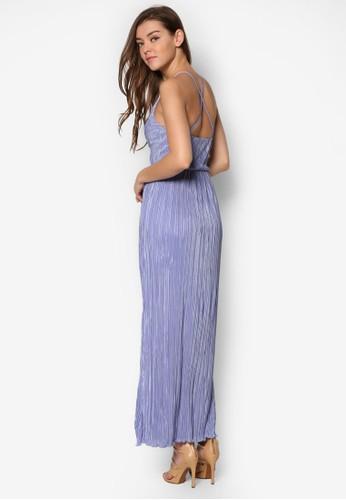 Plisse 交叉帶條紋長洋裝、 服飾、 洋裝MissSelfridgePlisse交叉帶條紋長洋裝最新折價