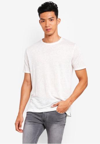 MANGO Man white Slub Linen-Blend T-Shirt 4117DAA9710E87GS_1