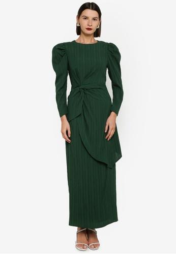 Zalia green Textured Side Drape Kurung D2AADAAE7F3800GS_1