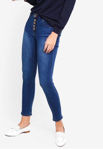 ZALORA blue Button Fly Skinny Jeans 1586BAA0BA894CGS_1
