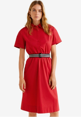 Mango red Belt Shirt Dress 8E828AA6FAE99DGS_1