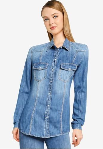 GUESS blue Lalima Long Sleeve Shirt E5EB3AAC7D734CGS_1