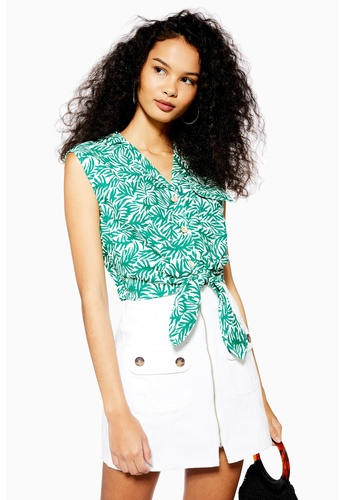 ff174220723dfc Shop TOPSHOP Palm Print Tie Front Shirt Online on ZALORA Philippines