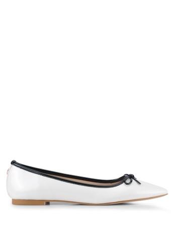 Velvet white Faux Patent Leather Point Toe Flats 25915SH80056B6GS_1